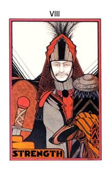The meaning of Strength from the Aquarian Tarot deck: Balance your primal force with intuition and compassion.