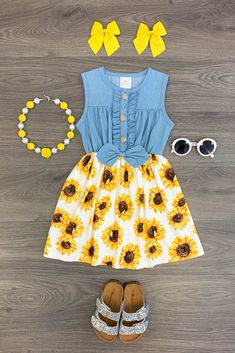 US Girls Dress Outfit Toddler Baby Kids Clothing Sunflower Denim Dress Baby Outfits, Little Girl Outfits, Cute Outfits For Kids, Little Girl Fashion, Toddler Girl Outfits, Baby Girl Dresses, Toddler Fashion, Kids Fashion, Toddler Girl Style