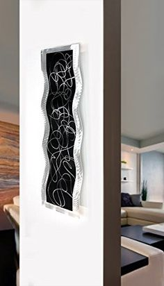 Black  Silver Modern Abstract Painting Metal Wall Art Sculpture  Home Dcor Contemporary Design Home Accent  Chaotic 2 by Jon Allen >>> Learn more home decor by visiting the image link.