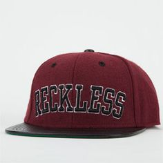 8a4255b3852 YOUNG   RECKLESS Reckless Block Mens Snapback Hat Types Of Hats