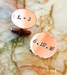 Copper Custom Hand Stamped Cufflinks  by BlueCornerCreasigns