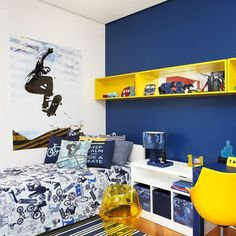 amarelo com azul para quarto