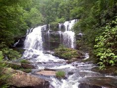 The Long Creek Falls, located in Oconee County, are just about one mile north of the Three Forks area of the Appalachian Trail. The 50-foot cascading waterfall has a refreshing plunge pool which makes it a popular spot for hikers to cool off.