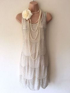 NWT Lace & Beads Embellished Gatsby 20's Beaded Flapper Dress M 10 Deco