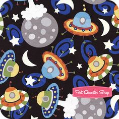 Outer Space Multi UFOs Yardage SKU# 1140205-01