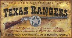 Texas Rangers Vintage Antiqued Wood Sign