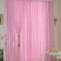 Offset Printing Window Door Curtain Drapes Panel Sheer Voile Tulle Circles Pattern Shade Curtain 1*2M - Pink