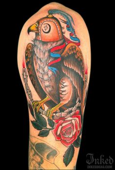 Hawk by Tamara Santibanez #InkedMagazine #hawk #tattoo #bird #tattoos #ink #inked #flowers #floral
