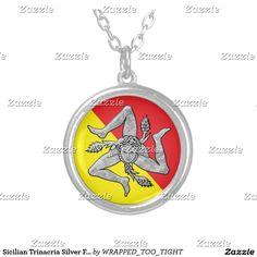 Sicilian Trinacria Silver Flag Round Pendant Necklace