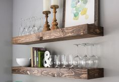 Feel like your dining room is lacking space? Check out this dining room storage idea! It includes a dining room storage with floating shelves, diy, organizing, shelving ideas, storage ideas. Dining Room Storage, Dining Room Walls, Dining Room Design, Dining Nook, Dining Table, Shelves In Dining Room, Dining Decor, Dining Room With Bar, Dining Room Feature Wall
