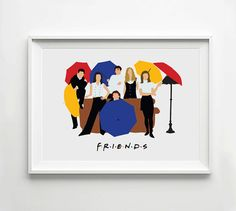This print features the main characters from Friends.    Ross & Monica Geller, Chandler Bing, Joey Tribbiani, Pheobe Buffay and Rachel Green. Printed on