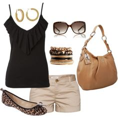 A fashion look from July 2012 featuring black ruffle tank top, brown flats and leather purse. Browse and shop related looks.