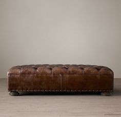 Churchill Leather Coffee Ottoman With Nailheads 60 x36 x16 $1610S