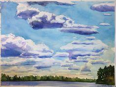 Watercolor of Summer Clouds. $60.00, via Etsy.
