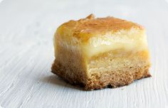 Butter Cake Bars. Don't even ask how much butter; just close your eyes and imagine little bites of these bars dripping on your palate as the rich buttery taste consumes every single taste bud you have! YUM.
