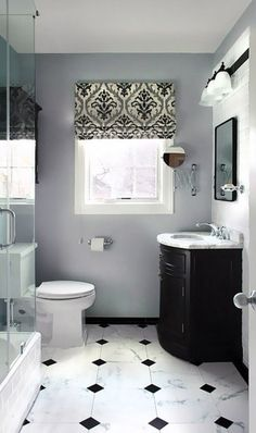 Classic bathroom style has been widely used for decades. There are a lot of families who like designing a classic bathroom – . Gray And White Bathroom, Black And White Tiles, Grey Bathrooms, Beautiful Bathrooms, Small Bathroom, Master Bathroom, Black Marble, Bathroom Images, Black White