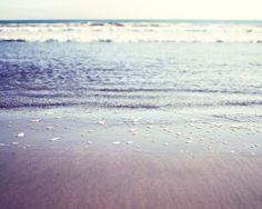 Ocean Photography - gentle waves, beach photo, soft mauve, pale purple, periwinkle blue, seashore sunlight - Shimmering shore 8x10