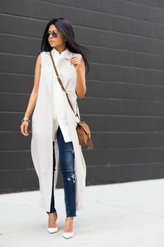spring / summer - street chic style - summer outfit ideas - spring outfit ideas - denim skinnies + white stilettos + white sleeveless duster coat + white sleeveless shirt + brown crossbody bag + aviators