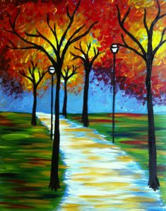 wine and canvas painting ideas Autumn Painting, Diy Painting, Painting & Drawing, Fall Paintings, Painting Gallery, Canvas Paintings, Wine And Canvas, Paint And Sip, Learn To Paint