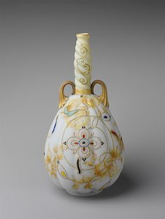 Vase By Mount Washington Glass Co. - Blown Glass, Enameled and GIlded Crown Milano - American  c. 1886-1894