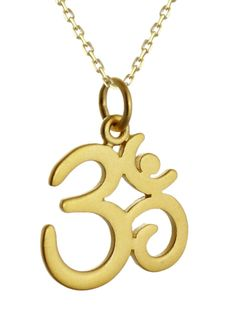 Om necklace - 24k gold #plate #sterling #silver - charm namaste yoga ohm gift new, View more on the LINK: http://www.zeppy.io/product/gb/2/141743143913/