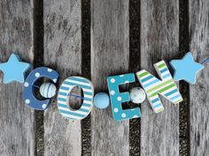 COEN  WOODEN LETTER DOOR NAME DECORATION PERSONALISED SHABBY CHIC BABY NURSERY