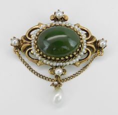 Antique Victorian 14K Yellow Gold Jade and Pearl Dangle Brooch Pin Pendant  | eBay