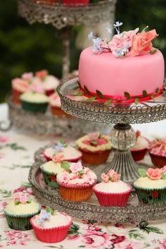 cake/cupcake combo-multi colour cake on top, strawberry cupcakes on bottom