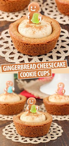 Life Love and Sugar - Life is Better With Cake These Gingerbread Cheesecake Cookie Cups are perfect for Christmas! A soft, chewy gingerbread cookie cup filled with a brown sugar spiced no bake cheesecake. Gingerbread Cheesecake, Chewy Gingerbread Cookies, Christmas Cheesecake, Gingerbread Recipes, Gingerbread Cake, Gingerbread Houses, Christmas Deserts, Holiday Desserts, Holiday Baking