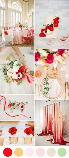 romantic poppy red, blush and gold wedding color inspiration