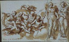 Paolo Farinati. Vérone, 1524-1606. Projet décoratif pour une cheminée Vers 1580 Plume, encre brune, lavis brun, traces de pierre noire, sur papier bleu. 254 x 417 mm. Annotations de la main de l'artiste, à la plume et encre brune, de gauche à droite sur le dessin : Giove e dei fulminato da amor / H / cigale / nobilita / I / V Vaso co [accent sur le o] denari / La richeza ; et au crayon en bas à gauche : Paul Farinati. Paris, BNF, Estampes, Rés. B 3