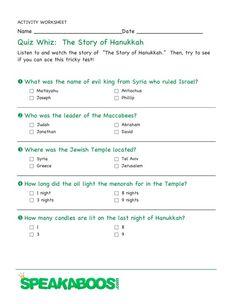 Quiz Whiz: Hanukkah | Speakaboos #Worksheets #quiz #education #kids #Hanukkah