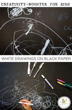 Art Prompts: White Marker on Black Paper Creativity Booster for Kids | TinkerLab.com