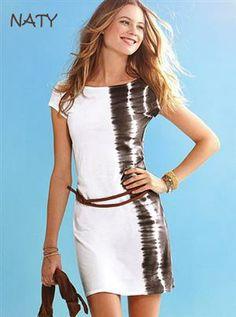 NATY Dámské letní šaty s páskem batikované bílé