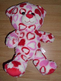 "Build a Bear 17"" BIG HEARTS BEAR Stuffed Plush Red Pink Heart Valentine Big Head"