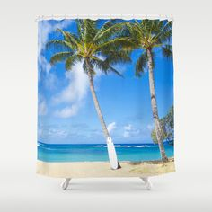 This Palm on the beach Canyon Shower Curtain is a great accent in your bathroom. Stunning view of Hawaiian beach in your house!  ★ Made from 100%