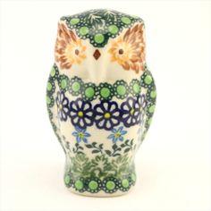 Ceramic owl - Polish pottery - Polská keramika - Krásná ručně zdobená keramická sova