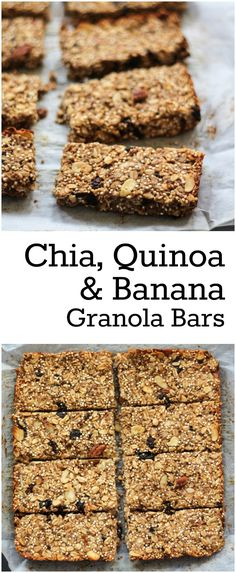 Recipes Snacks Bars These granola bars are packed with banana, dried fruit, quinoa, oats and chia seeds. They're a great on the go breakfast or fuel up snack! Gluten free too. Healthy Bars, Healthy Baking, Healthy Desserts, Healthy Foods, Protein Snacks, Vegan Snacks, Vegan Lunches, Diet Snacks, Vegan Dinners
