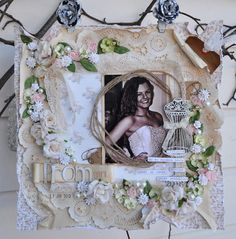 shabby chic, vintage scrapbooking page, layout