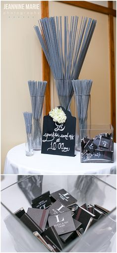 Sparklers and personalized matches as wedding guest favors for Olympic Hills… More