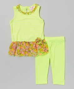 Look what I found on #zulily! Lime Stripe Ruffle Tunic & Leggings - Toddler #zulilyfinds