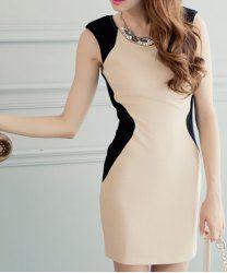 $6.72 Round Collar Color Block Sleeveless Bodycon Dress