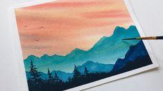 Watercolor Paintings Nature, Watercolor Art Lessons, Watercolor Painting Techniques, Watercolor Landscape Paintings, Watercolors, Watercolor Landscape Tutorial, Watercolor Beginner, Mountain Paintings, Diy Canvas Art