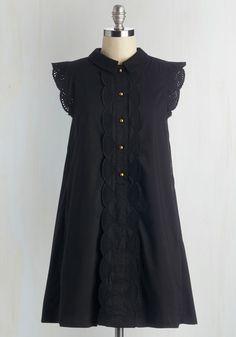 Letter Than Ever Dress in Black. Strolling to the post office with a care package for your BFF abroad in hand, youre looking and feeling delightful in this ruffled, black shirt dress by Dear Creatures! #black #modcloth
