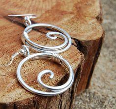 Silver. Aluminum. Large. Circle. Spiral. by Karismabykarajewelry, $22.00