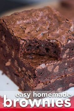 Rich, chocolatey and delicious, this recipe for easy brownies made with cocoa powder is one that you'll want to save and make, over and over! #brownies #homemadebrownies #easybrownies #chocolate #dessert #baking #recipe #food #bestbrownies