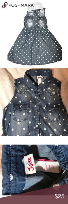 Justice blue denim chambray polka dot dress Justice Size 12 Blue chambray with white polka dots Small Crystal embellishment near collar Super cute In excellent condition From clean, non-smoking home. Justice Dresses Casual