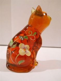 Fenton Art Glass ORANGE QVC Exclusive Ltd Ed CURIOUS CAT Hidden Mouse Design NR!