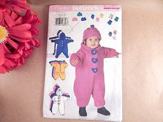 Baby Clothing Bunting Sewing Pattern Uncut Butterick 5899 Size  Newborn to 21…