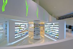 Modern Pharmacy Building and Interior Designed by KLab Architecture Click www.pinterest.com/instorevoyage to find thousands of in-store marketing and visual merchandising pins